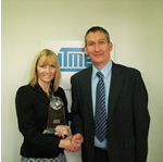 Arrow marketing manager Joan Coleman and Atmel distribution sales manager Adrian Elms with the European award